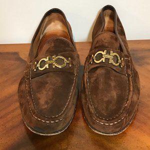 Salvatore Ferragamo Brown Suede Leather Loafers